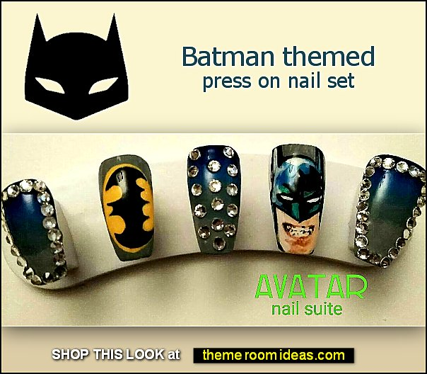 Batman themed press on nails - batman nails - superhero nails - superhero nail design ideas comic con nails