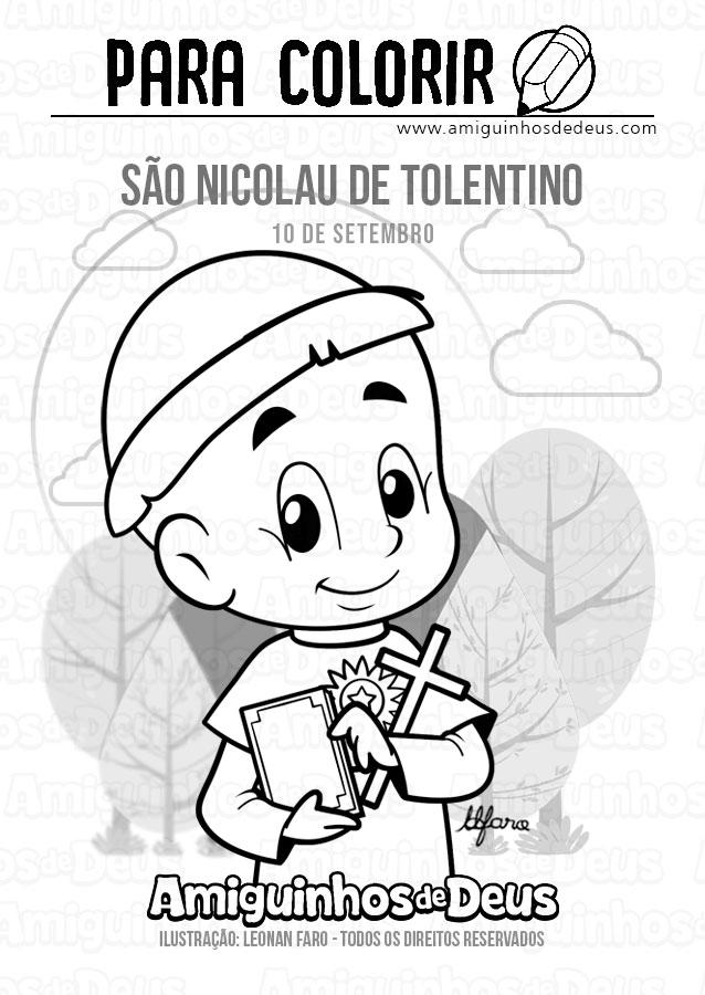 São Nicolau de Tolentino desenho para colorir