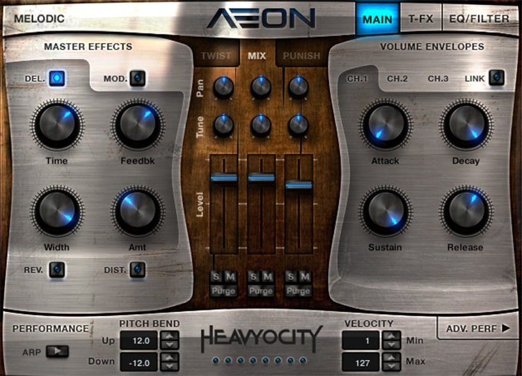 Interface da Kontakt library AEON Melodic - Heavyocity