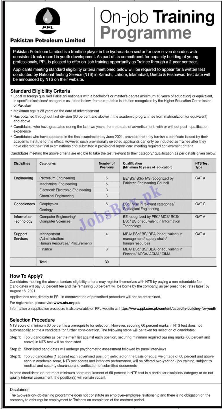 Pakistan Petroleum Limited PPL Trainee Jobs 2021 in Pakistan - www.ppl.com.pk Jobs 2021 - PPL Jobs 2021