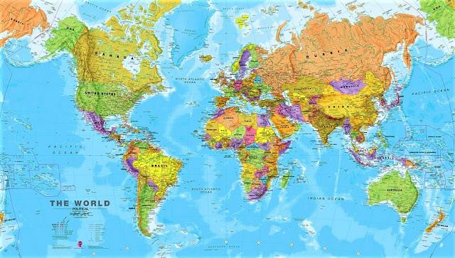 Peta Dunia HD 2019 Lengkap Ukuran Besar