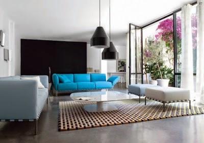 Sala con mueble celeste