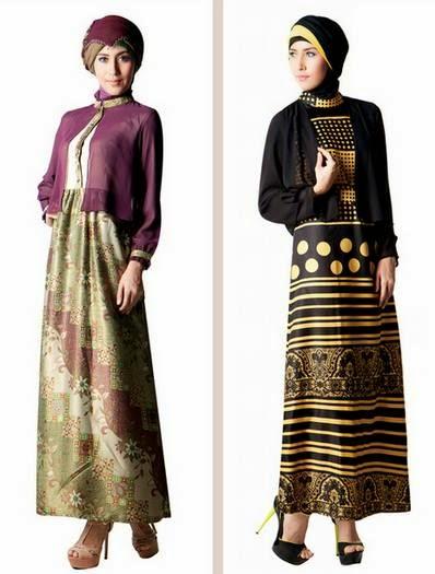 Contoh desain kombinasi busana muslim gamis brokat denga batik