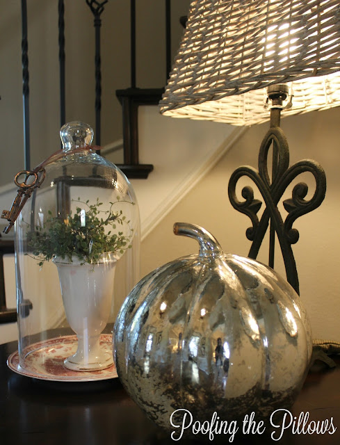 decorating-fall-mercury glass-poofing-the-pillows
