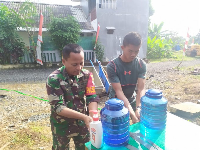 Antisipasi covid-19, Satgas TMMD Edukasi Masyarakat Untuk Cuci Tangan