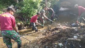 Satgas Sub 16 Sektor 22, Pembersihan Sungai Caringin Bersama Baraya