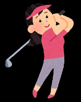 ゴルフをする女性のイラスト(ゴルファー)