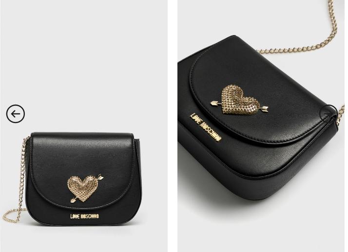 Love Moschino - Poseta originala neagra cu lant auriu de umar