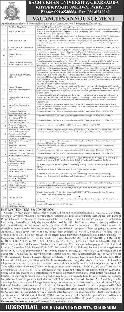 Latest Jobs in Pakistan Bacha Khan University Charsadda Jobs 2021