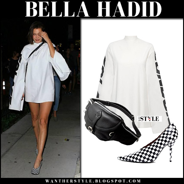 Bella Hadid wore white sweatshirt mini dress and check print pumps september 5 2017 model style