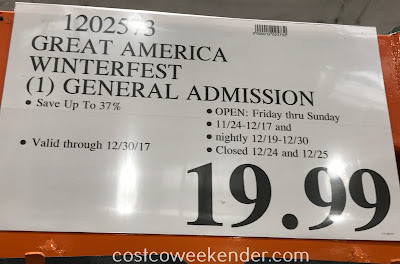 Deal for general admission to Great America WinterFest 2017 at Costco