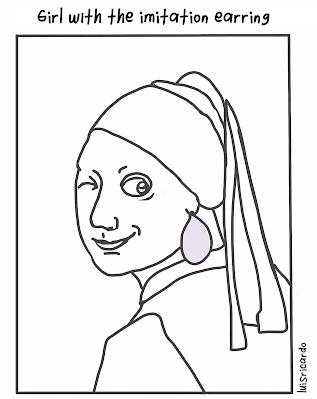El caricaturista de Puebla Luis Ricardo y la chica del arete de perla