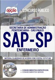 Apostila SAP SP ENFERMEIRO atualizada + CD Grátis