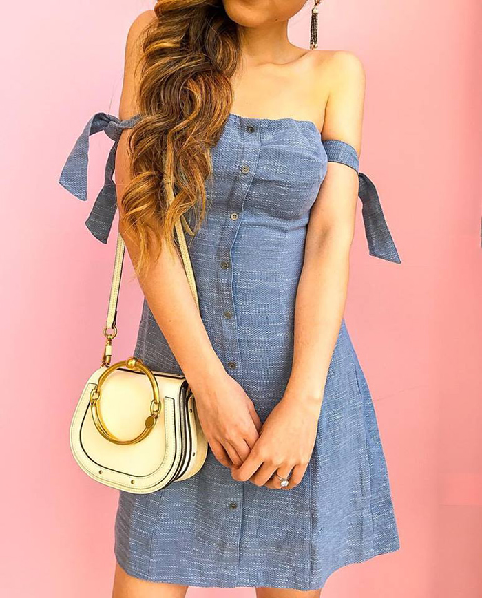 off shoulder shoulder bow dress, kendra scott earrings, chloe nile bag, must have date night dress, san francisco fashion blog, san francisco street style, date night dress ideas