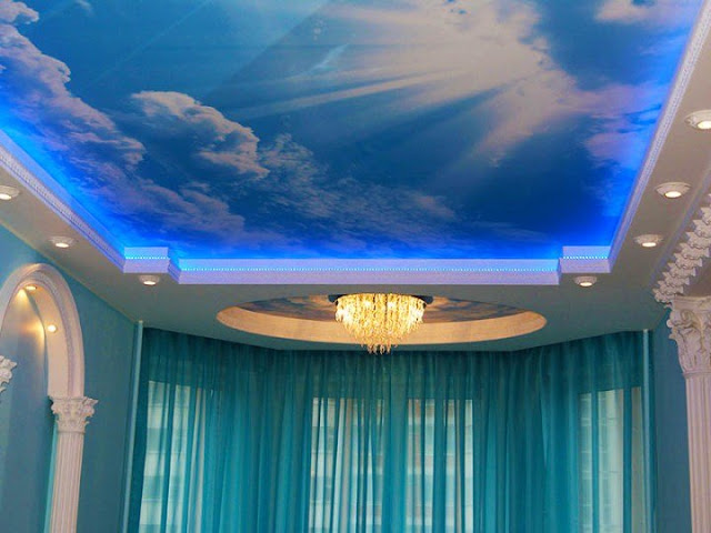 stunning stretched ceiling design with led lighting backlit