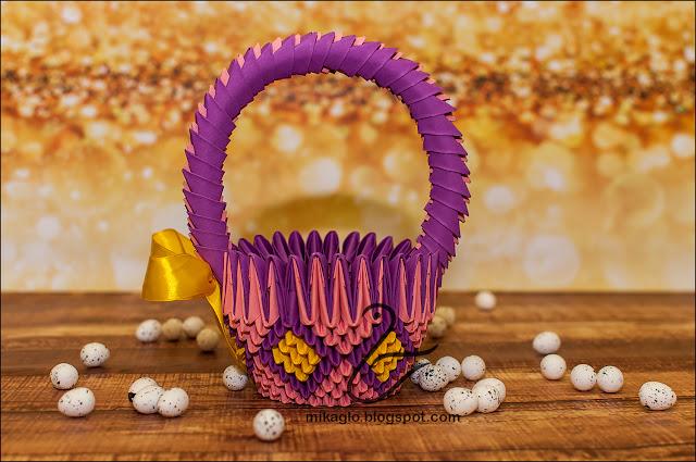 663. Koszyk z origami w fioletach / 3d origami basket