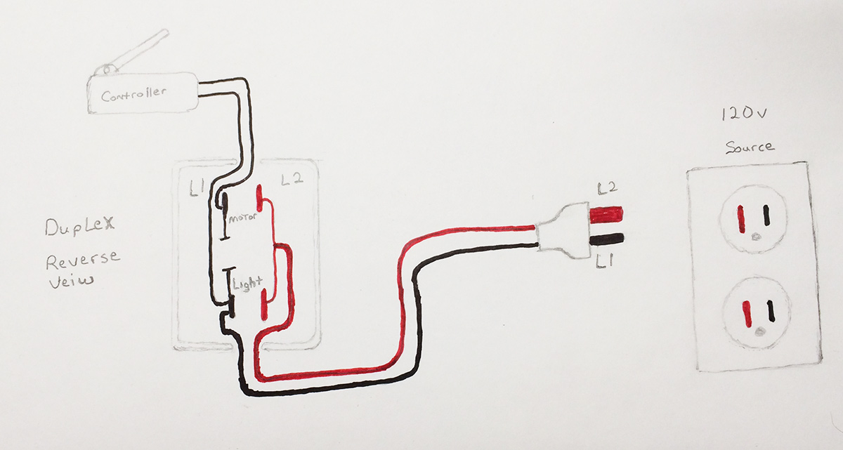 rewiring a duplex receptacle on vintage sewing machines