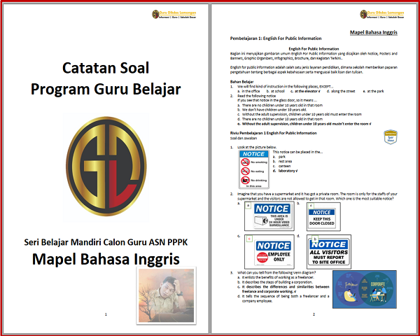 Catatan Soal Program Guru Belajar Seri Belajar Mandiri Calon Guru ASN PPPK Mapel Bahasa Inggris
