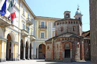 Biella's Romanesque baptistry in Piazza Duomo