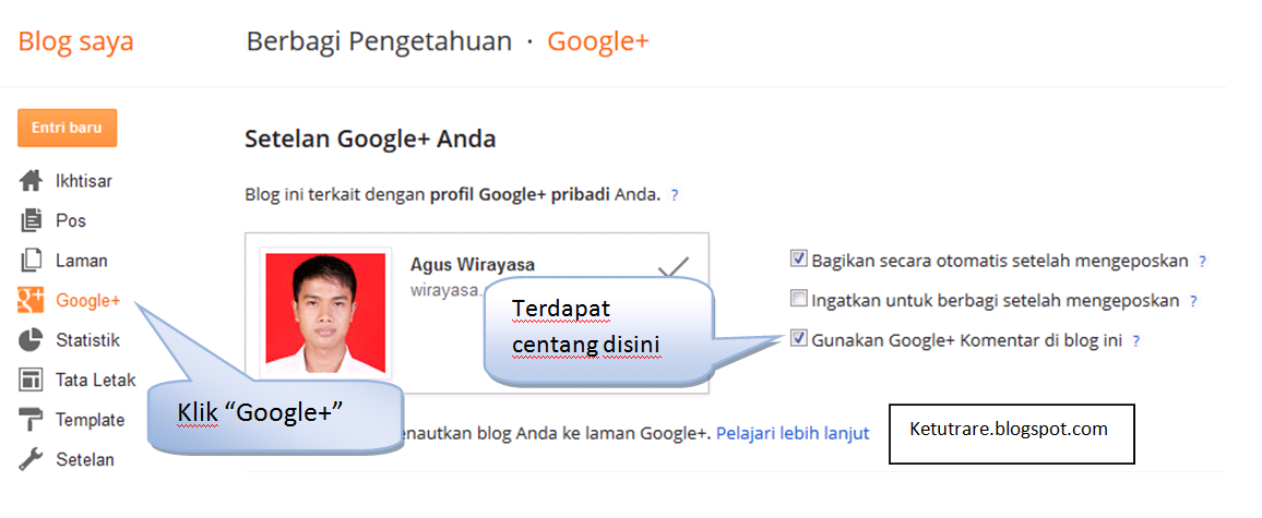 google+ comment di dashboar blogger