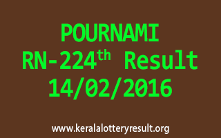 POURNAMI RN 224 Lottery Result 14-02-2016