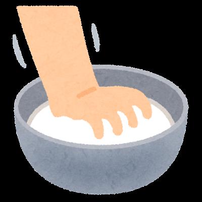 ボウルで粉をこねるイラスト(料理)