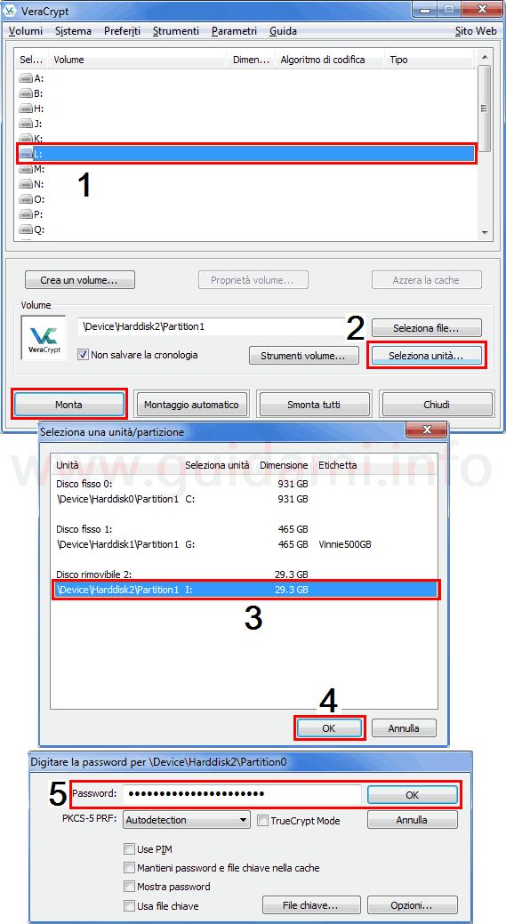 VeraCrypt procedura per montare unità USB crittografata
