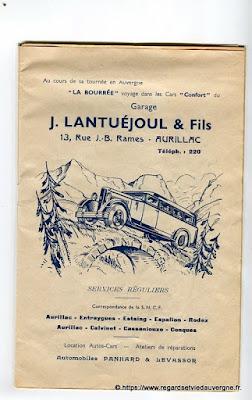 La Bourrée du Massif Central, programme 1938, J. Lantuéjoul et fils garage, Aurillac