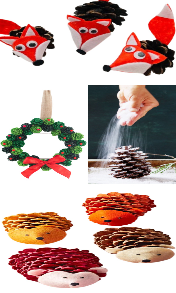 TONS of fun & creative pine-cone crafts for kids! #pineconecrafts #pinecones #fallcrafts #growingajeweledrose #activitiesforkids