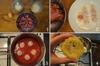 foto preparazione Ricetta pasta al sugo con polpette di manzo per bambini