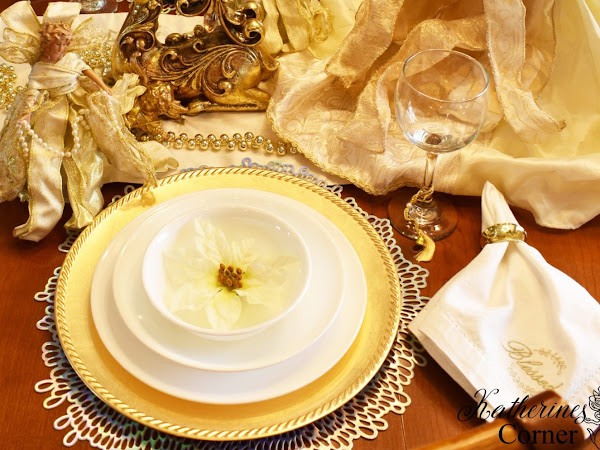 Glimmer of Gold Tablescape and a Traditional Victoria Sponge Cake
