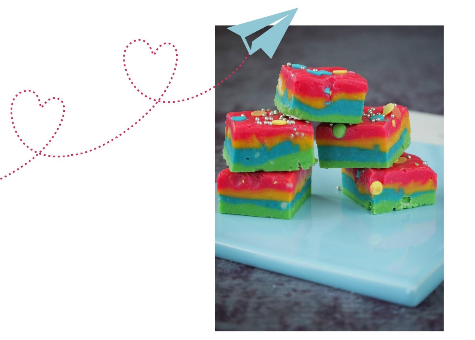 """De regenboog fudge met witte chocolade zijn van Maris van de blog """"Flying Foodie"""""""