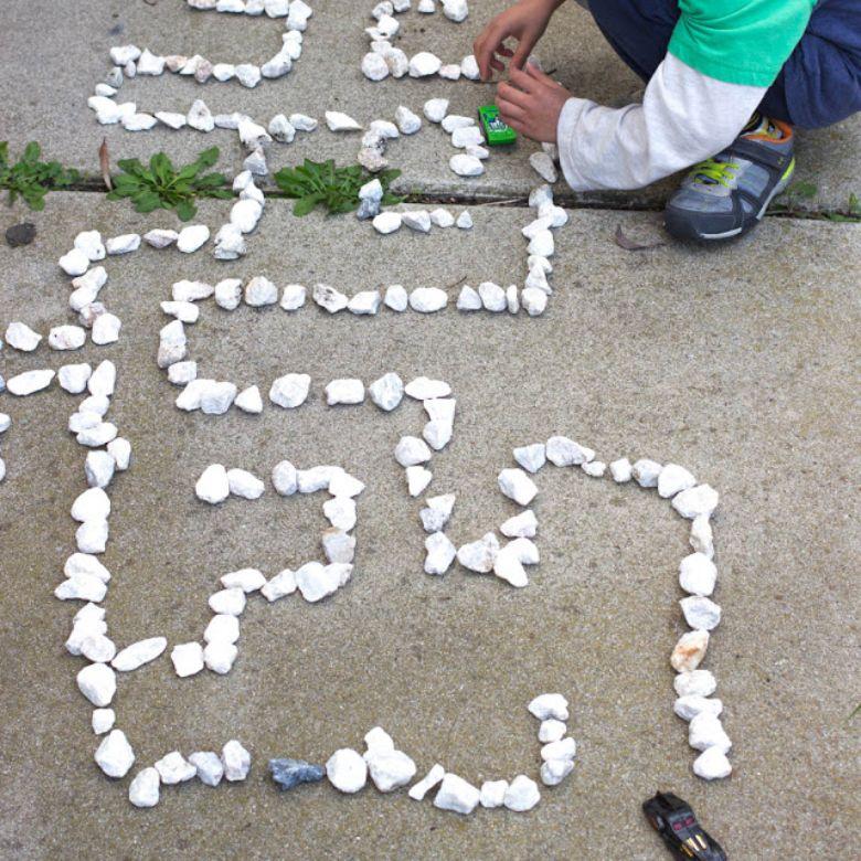 outdoor activities for kids - rock maze