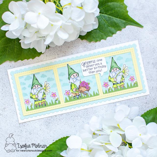 Slimline Gnome card by Zsofia Molnar | Gnome Garden Stamp Set, Petite Clouds Stencil, Land Borders Die Set and Slimline Die Sets by Newton's Nook Designs #newtonsnook