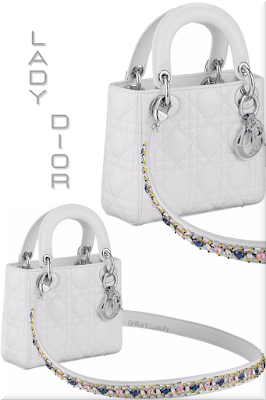 ♦Dior Lady Dior white top handle lambskin mini bag with colorful bejeweled strap and iconic silver Dior charms #dior #bags #ladydior #brilliantluxury