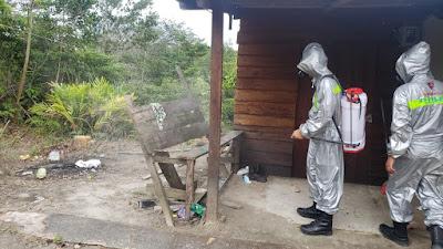 Rumah Warga di Tanjung Lumut di Semprot Disinfektan