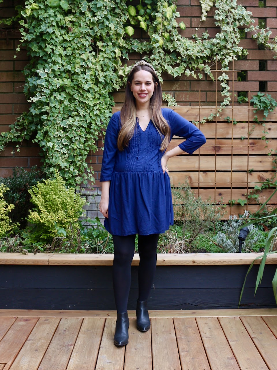 Jules in Flats - Navy Swing Dress with Leopard (Business Casual Workwear on a Budget)