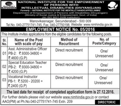 NIMH India Recruitment 2017