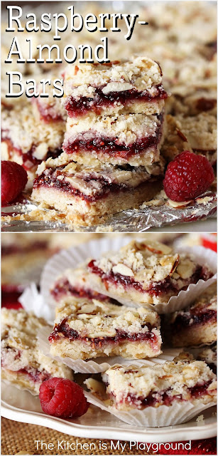 Raspberry-Almond Bars ~ Oozing with raspberry preserves tucked inside an almond-spiked oat-based crumble dough, Raspberry-Almond Bars are an all-time favorite sweet treat. After just one bite, it'll be easy to see why!  www.thekitchenismyplayground.com