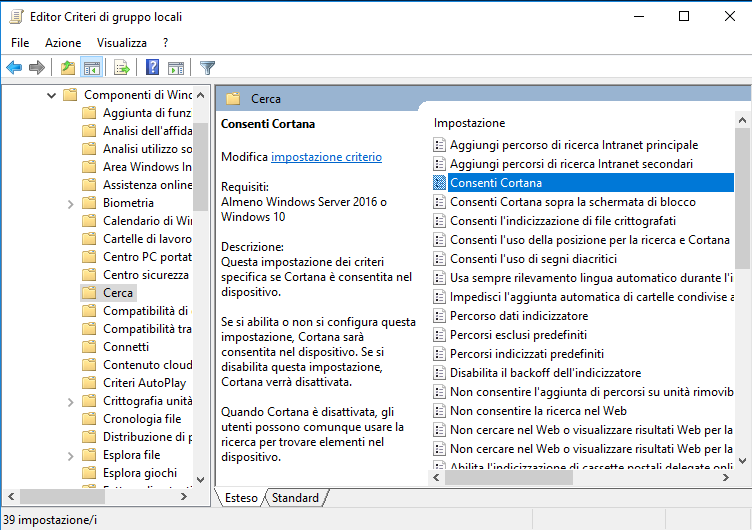 Editor di Criteri di gruppo locali, Consenti Cortana