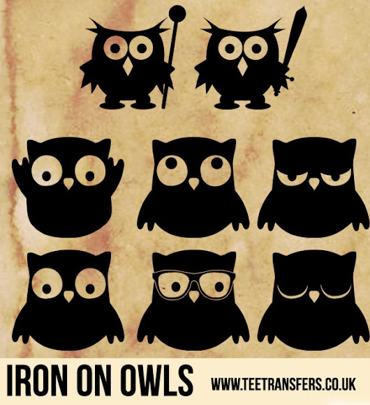 Iron on Owls - from 5cm to 20cm - 20+ Colours!