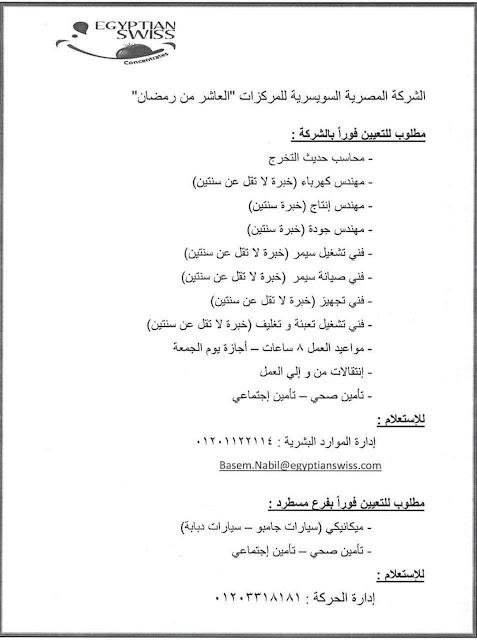 وظائف خالية فى الشركة المصرية السويسرية-وظائف دوت كوم wzaeif