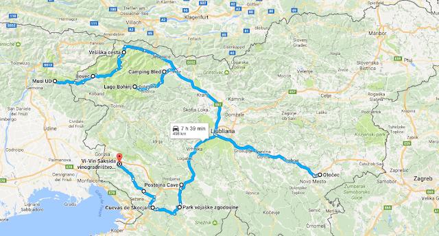 Mapa de la ruta completa del recorrido por Eslovenia