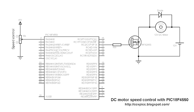 DC motor speed control using PIC18F4550 circuit CCS PIC C