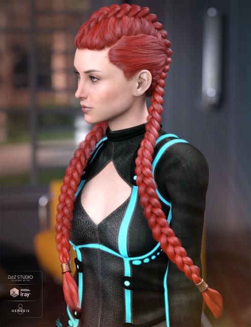 Quincy Hair for Genesis 3 / 8 Female