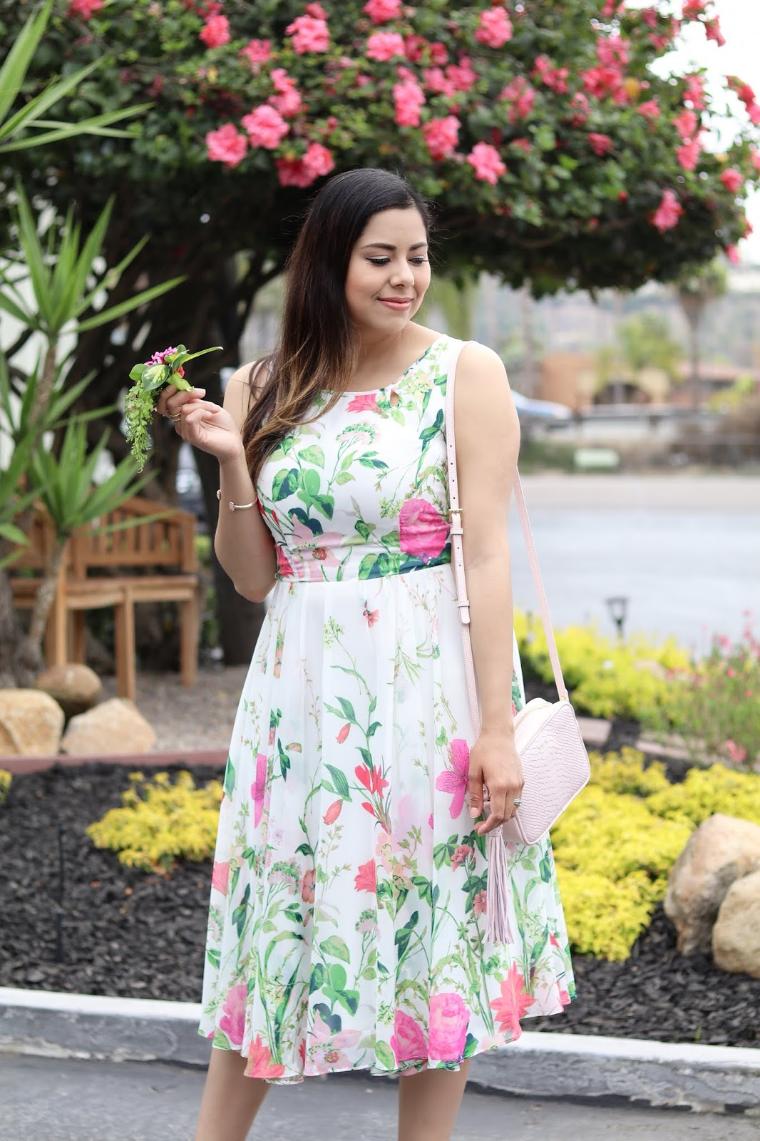 pink and green floral dress, brunette fashion blogger