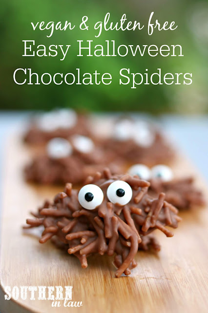 Easy Gluten Free Halloween Chocolate Spiders Recipe - Quick and Easy Halloween Dessert Ideas, gluten free treats, peanut butter,