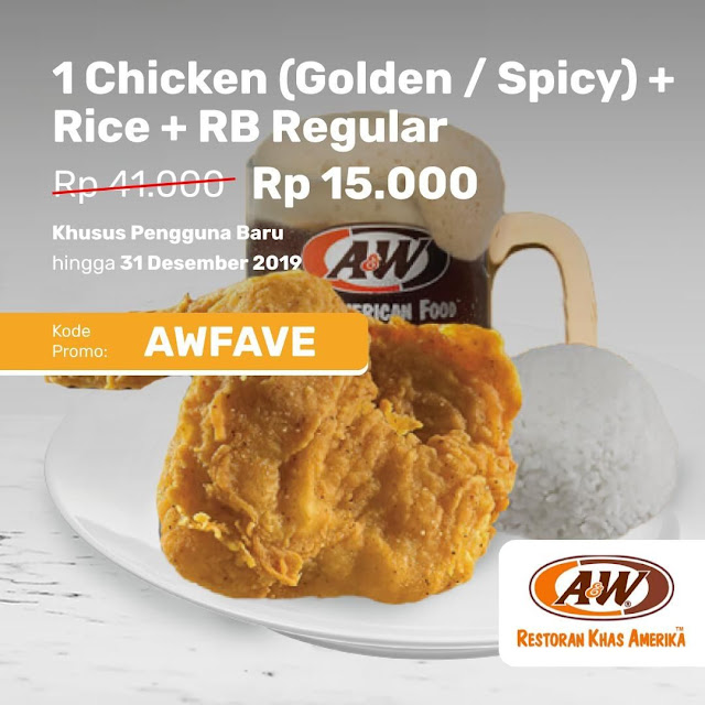 #AW - #Promo 1 Chicken (Golden/Spicy) + Rice + RB Reguler Hanya 15K Pakai Fave (s.d 31 Des 2019)