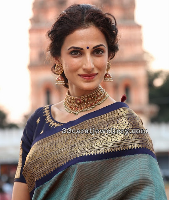 Shilpareddy in Choker and Traditional Jhumkas