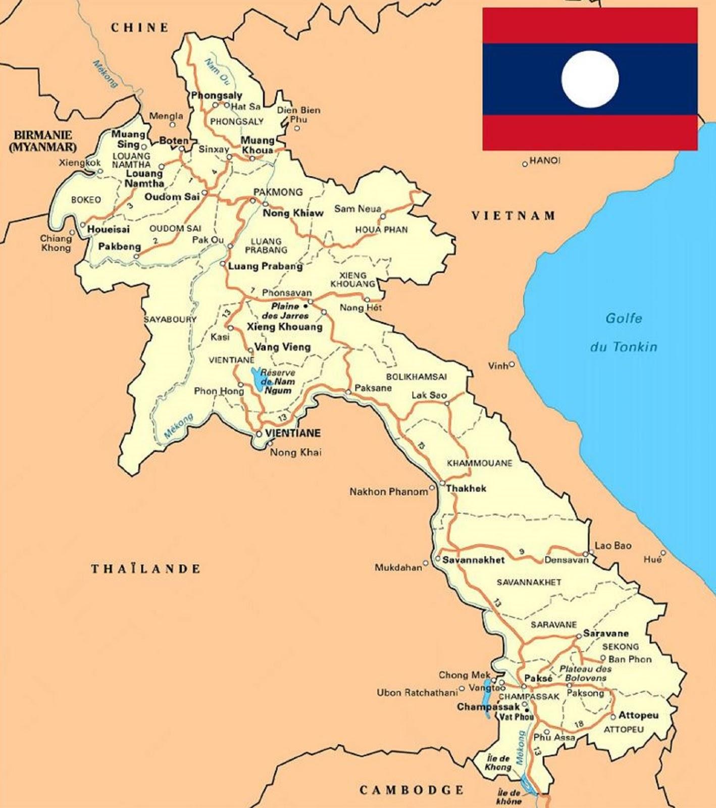 Peta Negara Laos